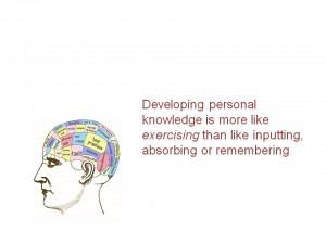 Text in graphic: Developing personal knowledge is more like exercising than like inputting, absorbing or remembering